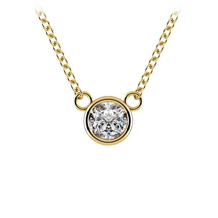 Bezel Diamond Solitaire Pendant in Yellow Gold (1/3 ctw) | 01