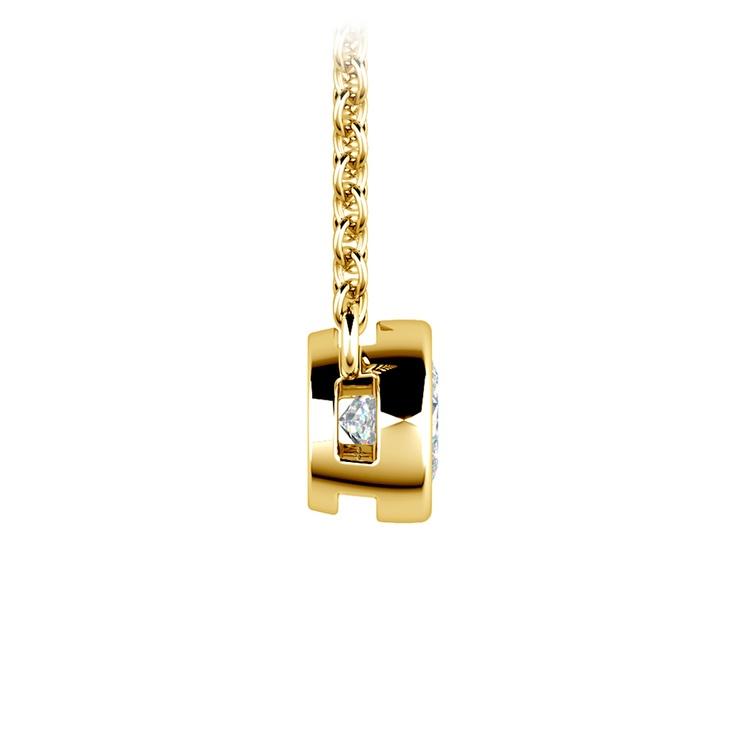 Bezel Diamond Solitaire Pendant in Yellow Gold (1/3 ctw) | 02