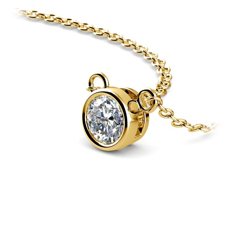Bezel Diamond Solitaire Pendant in Yellow Gold (1/3 ctw) | 03
