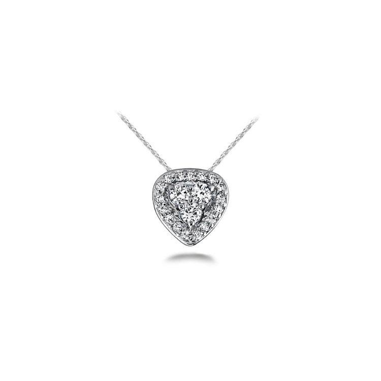 Halo Cluster Diamond Pendant in White Gold (1/3 ctw) | 01
