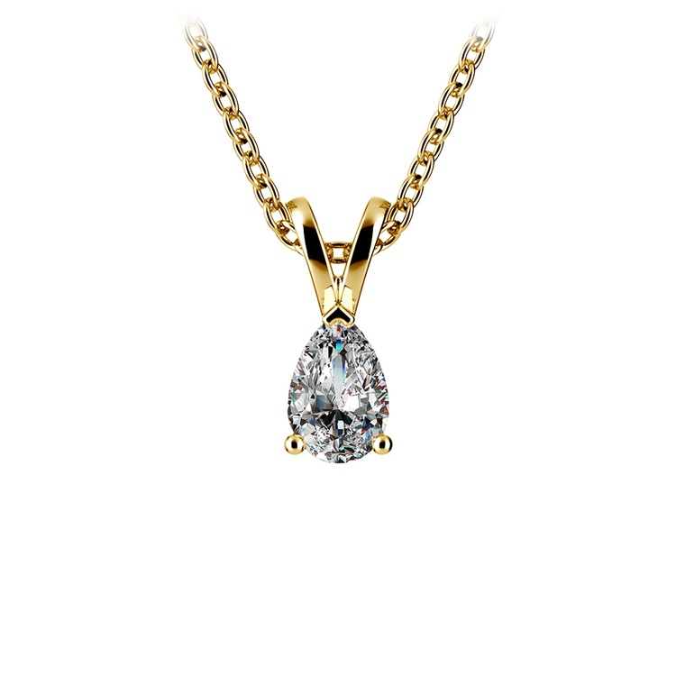 Gorgeous Pear Shaped Diamond Necklace In Yellow Gold (1/3 Ctw) | 01
