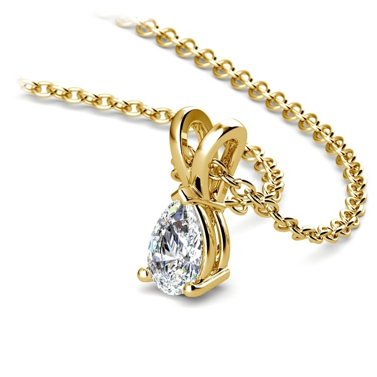 Gorgeous Pear Shaped Diamond Necklace In Yellow Gold (1/3 Ctw) | 03