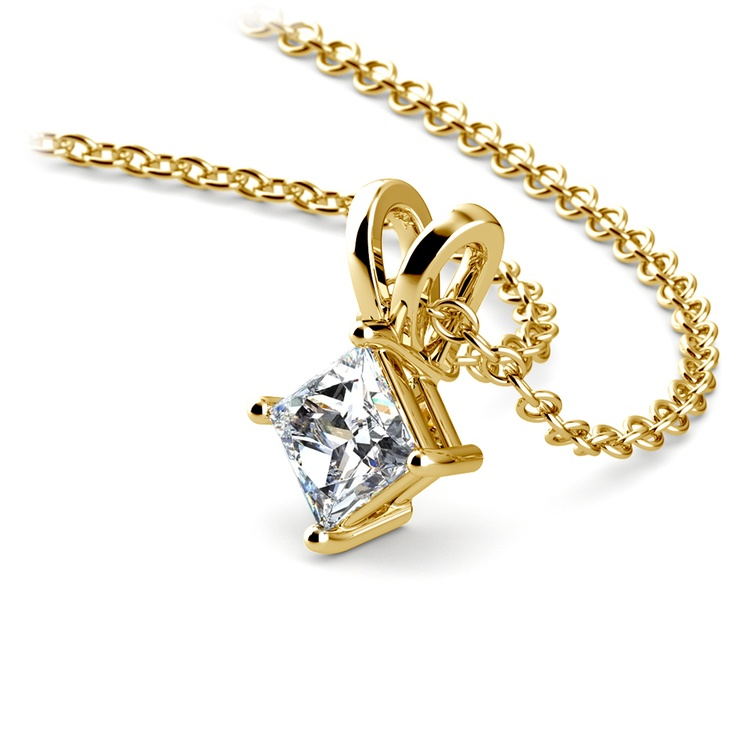 Princess Diamond Solitaire Pendant in Yellow Gold (1/3 ctw)  | 03