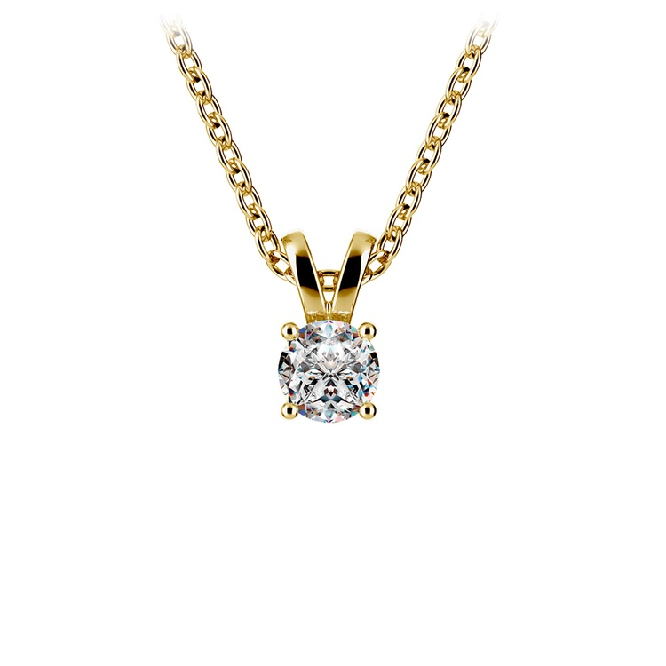Round Diamond Solitaire Pendant in Yellow Gold (1/3 ctw) | 01