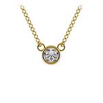 Bezel Diamond Solitaire Pendant in Yellow Gold (1/4 ctw) | Thumbnail 01