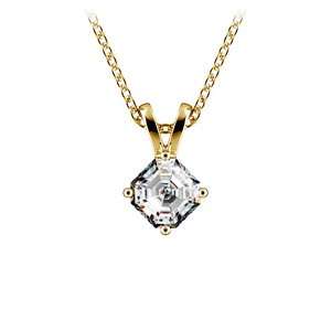 Asscher Diamond Solitaire Pendant in Yellow Gold (1/4 ctw)