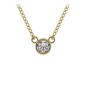 Bezel Diamond Solitaire Pendant in Yellow Gold (1/4 ctw)