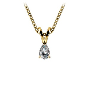Pear Diamond Solitaire Pendant in Yellow Gold (1/4 ctw)