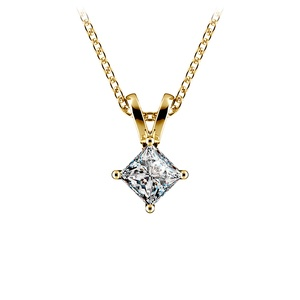 Princess Diamond Solitaire Pendant in Yellow Gold (1/4 ctw)