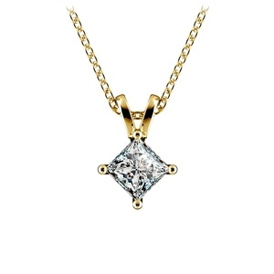 Princess Diamond Solitaire Pendant in Yellow Gold (3/4 ctw)