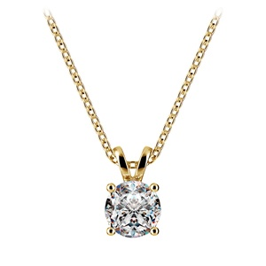 Round Diamond Solitaire Pendant in Yellow Gold (3/4 ctw)