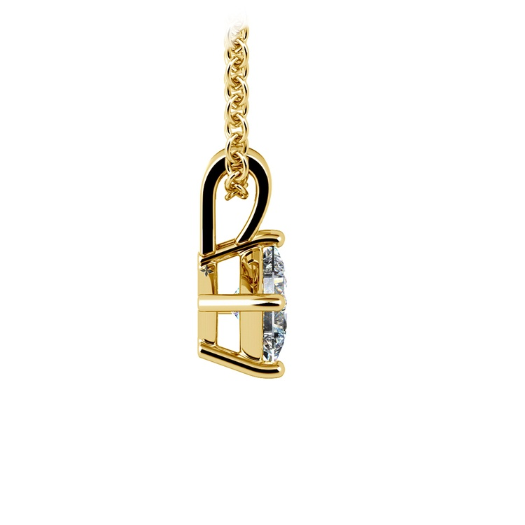 Asscher Diamond Solitaire Pendant in Yellow Gold (1/4 ctw)  | 02