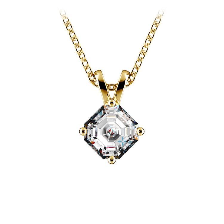3/4 Carat Asscher Cut Diamond Pendant Necklace In Yellow Gold | 01