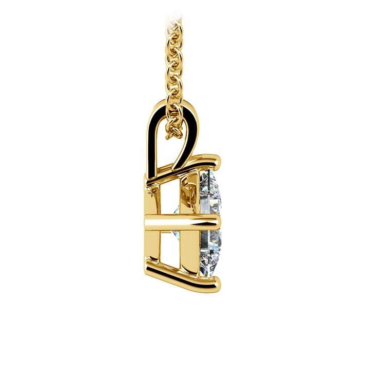 3/4 Carat Asscher Cut Diamond Pendant Necklace In Yellow Gold | 02