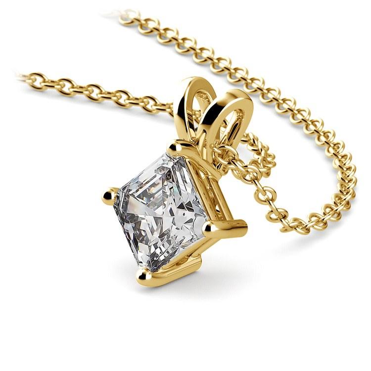 3/4 Carat Asscher Cut Diamond Pendant Necklace In Yellow Gold | 03