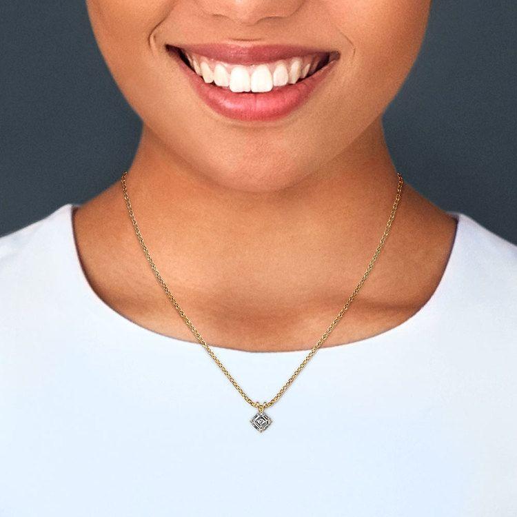 3/4 Carat Asscher Cut Diamond Pendant Necklace In Yellow Gold | 04