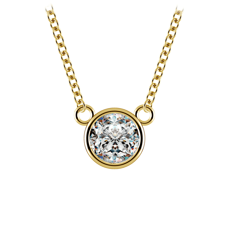 Bezel Diamond Solitaire Pendant in Yellow Gold (3/4 ctw) | 01