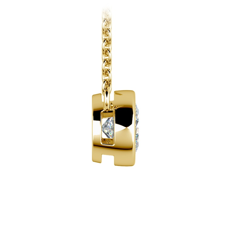 Bezel Diamond Solitaire Pendant in Yellow Gold (3/4 ctw) | 02