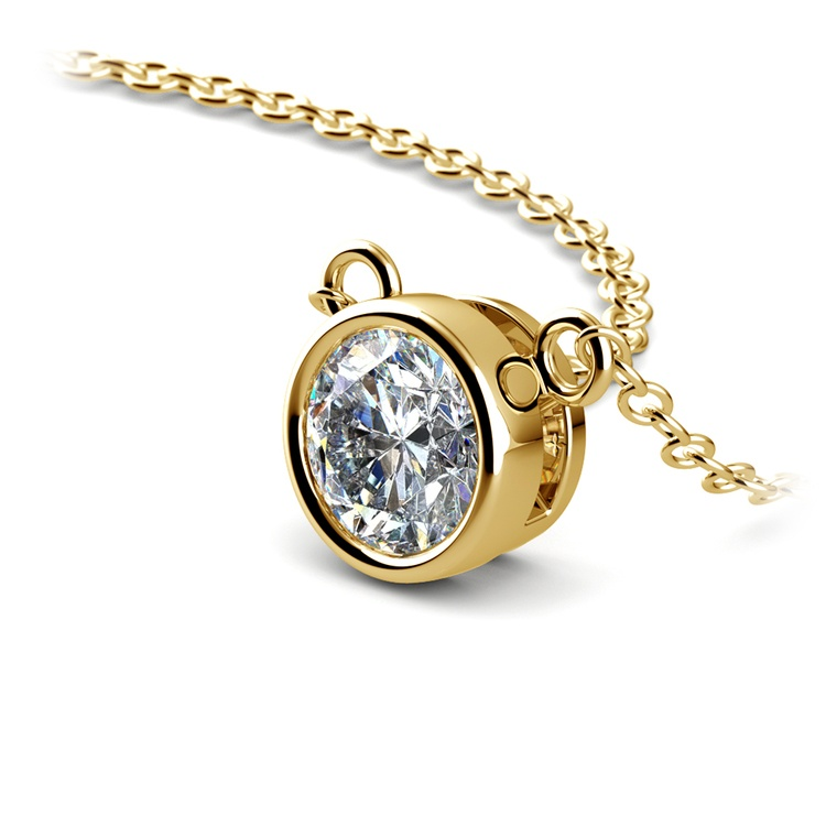 Bezel Diamond Solitaire Pendant in Yellow Gold (3/4 ctw) | 03