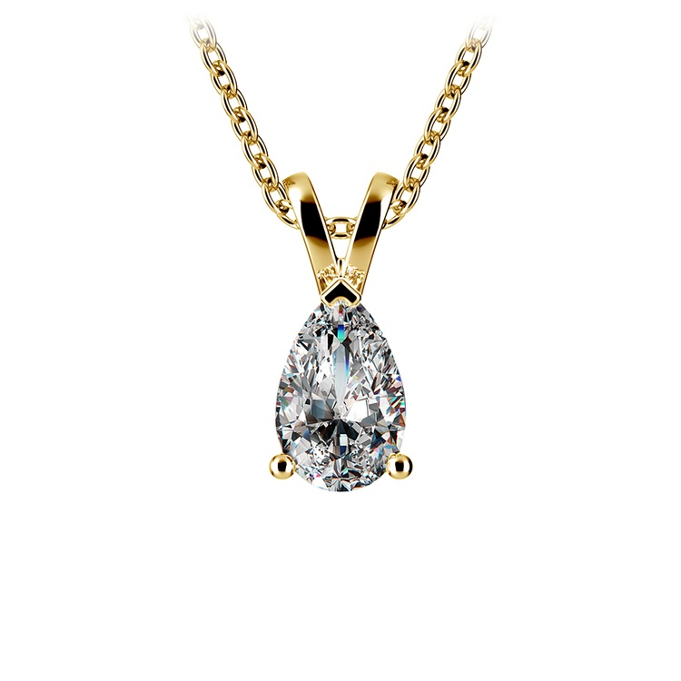Pear Shaped Diamond Pendant Necklace In Yellow Gold (3/4 Ctw) | 01