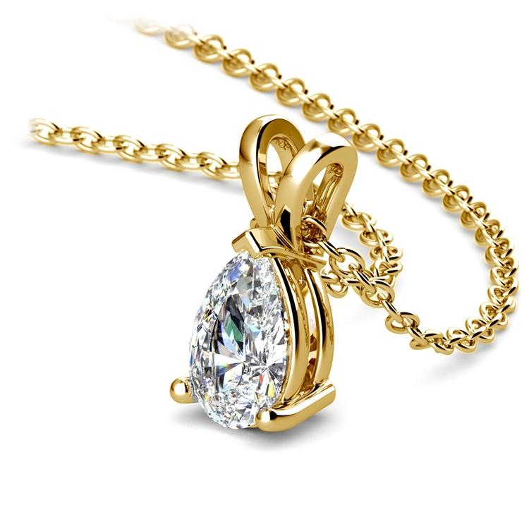 Pear Diamond Solitaire Pendant in Yellow Gold (3/4 ctw) | 03