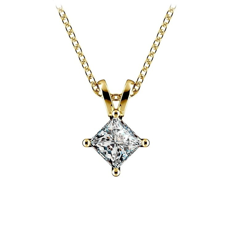 Princess Diamond Solitaire Pendant in Yellow Gold (3/4 ctw)  | 01