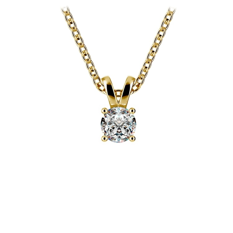Round Diamond Solitaire Pendant in Yellow Gold (1/4 ctw) | 01