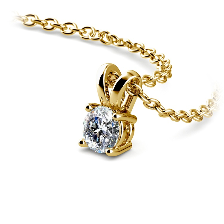 Round Diamond Solitaire Pendant in Yellow Gold (1/4 ctw) | 03