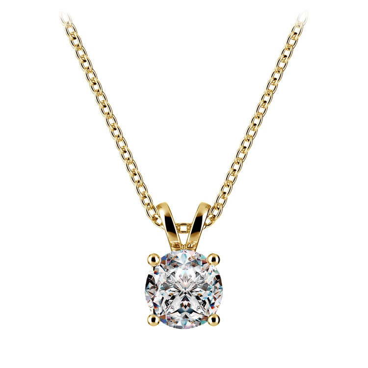 Round Diamond Solitaire Pendant in Yellow Gold (3/4 ctw) | 01