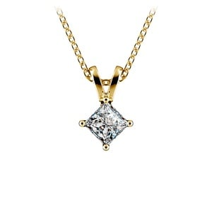 Princess Diamond Solitaire Pendant in Yellow Gold (1/5 ctw)
