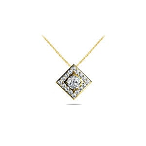 Square Halo Diamond Pendant in Yellow Gold (2/5 ctw)