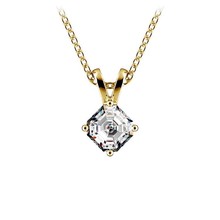 Asscher Diamond Solitaire Pendant in Yellow Gold (1/5 ctw)  | 01