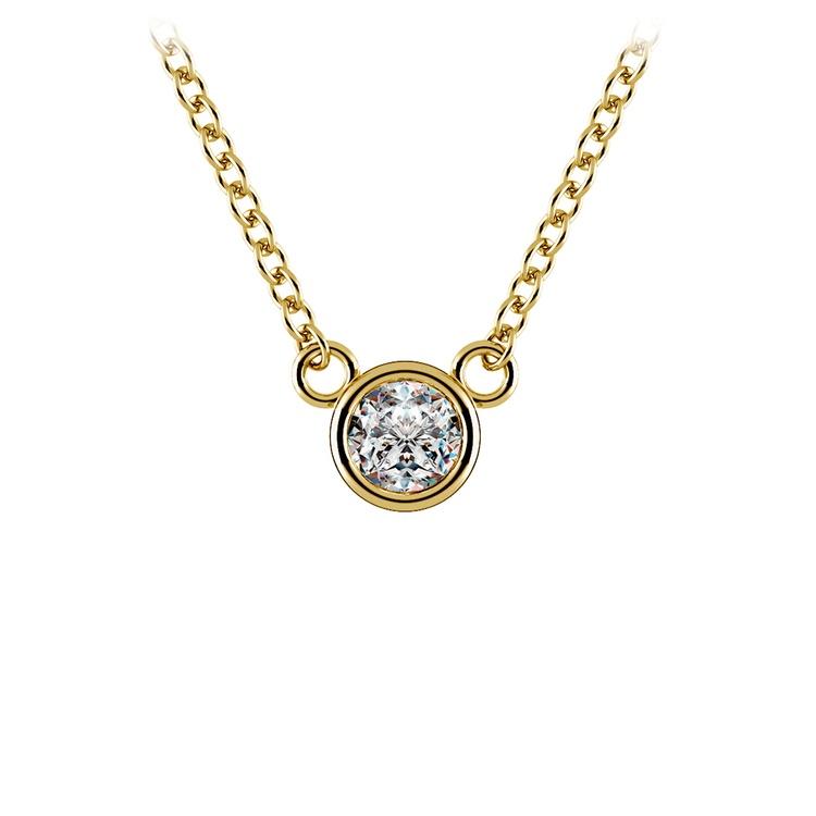 Bezel Diamond Solitaire Pendant in Yellow Gold (1/5 ctw) | 01