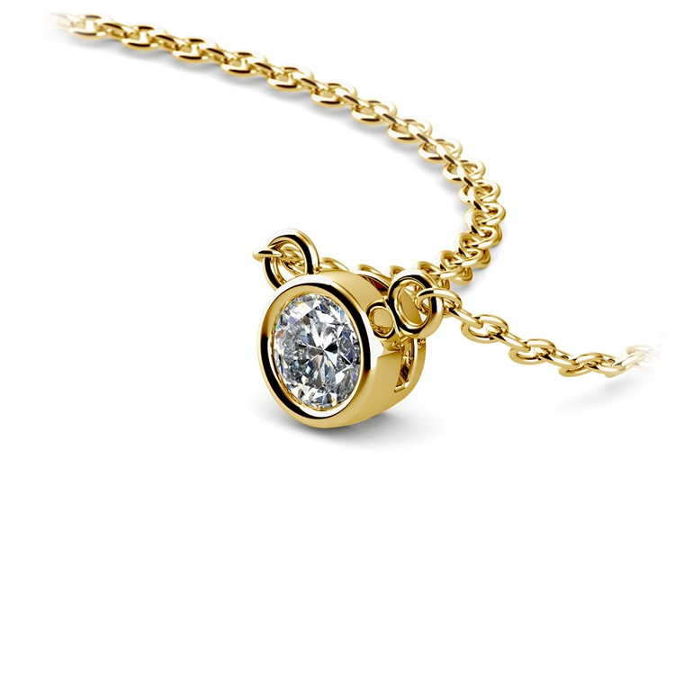 Bezel Diamond Solitaire Pendant in Yellow Gold (1/5 ctw) | 03