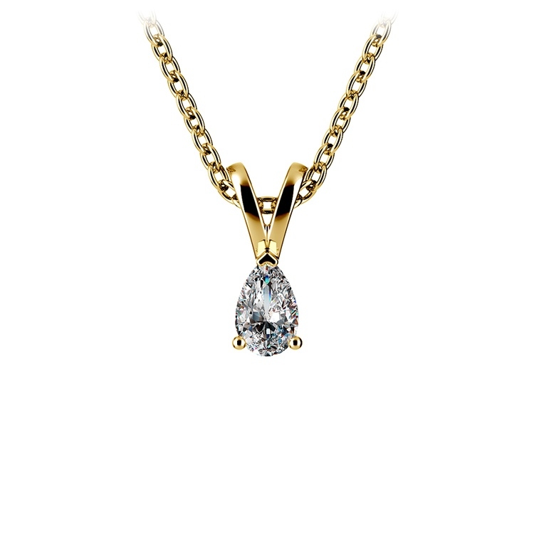 Pear Diamond Solitaire Pendant in Yellow Gold (1/5 ctw) | 01