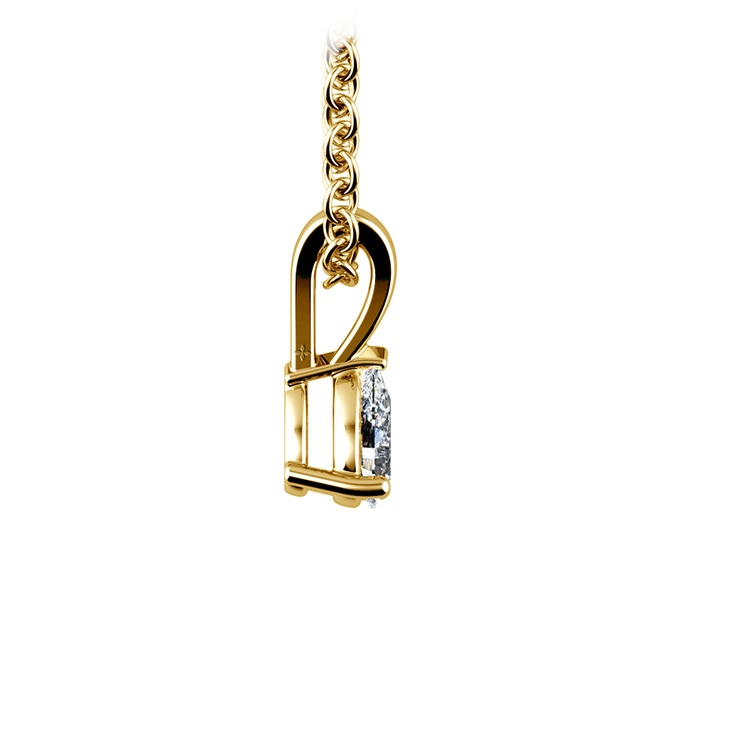 Pear Diamond Solitaire Pendant in Yellow Gold (1/5 ctw) | 02