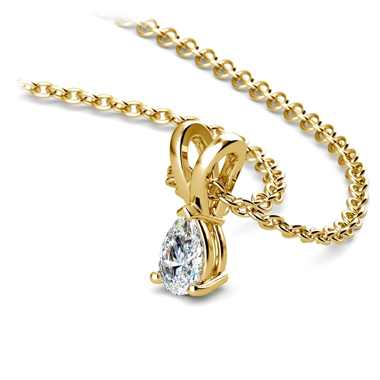 Pear Diamond Solitaire Pendant in Yellow Gold (1/5 ctw) | 03