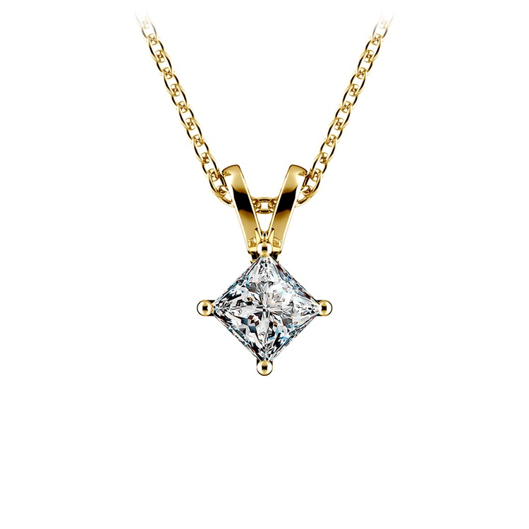 Princess Diamond Solitaire Pendant in Yellow Gold (1/5 ctw)  | 01