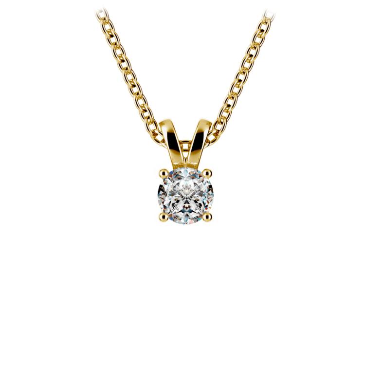 Round Diamond Solitaire Pendant in Yellow Gold (1/5 ctw) | 01