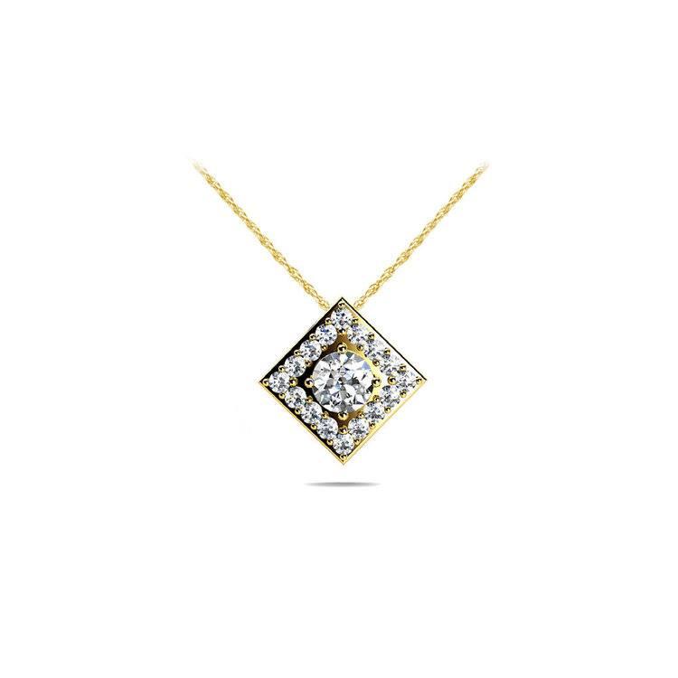 Square Halo Diamond Pendant in Yellow Gold (2/5 ctw) | 01