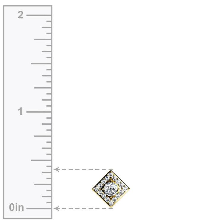 Square Halo Diamond Pendant in Yellow Gold (2/5 ctw) | 02