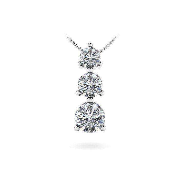 Three Stone Diamond Pendant in White Gold (2/5) | 01