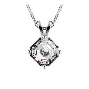 1 1/2 Carat Asscher Cut Pendant Diamond Necklace In Platinum