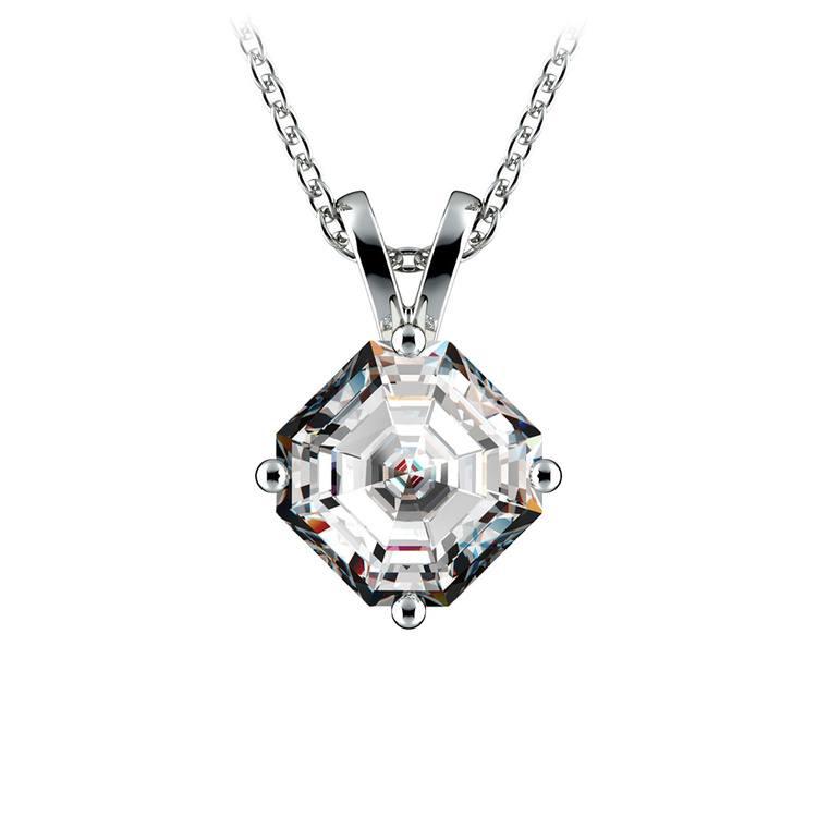 Asscher Diamond Solitaire Pendant in Platinum (1 1/2 ctw)  | 01