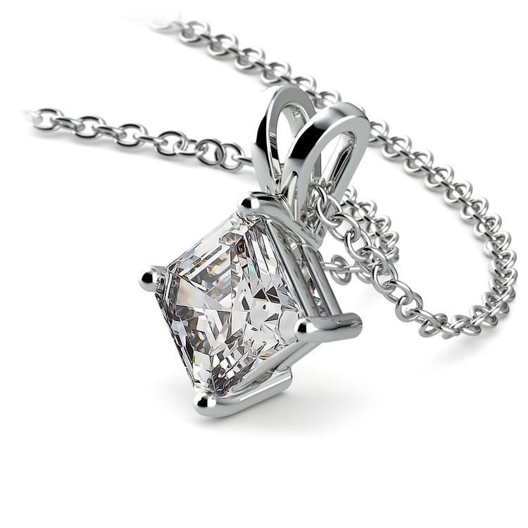 Asscher Diamond Solitaire Pendant in Platinum (1 ctw)  | 03