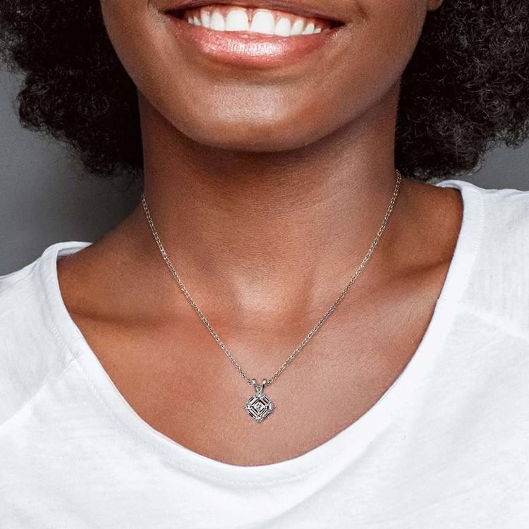 One Carat Asscher Cut Pendant Diamond Necklace In Platinum | 04