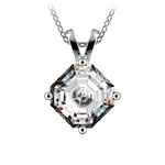 Asscher Diamond Solitaire Pendant in Platinum (3 ctw)  | Thumbnail 01