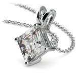 Asscher Diamond Solitaire Pendant in Platinum (3 ctw)  | Thumbnail 03