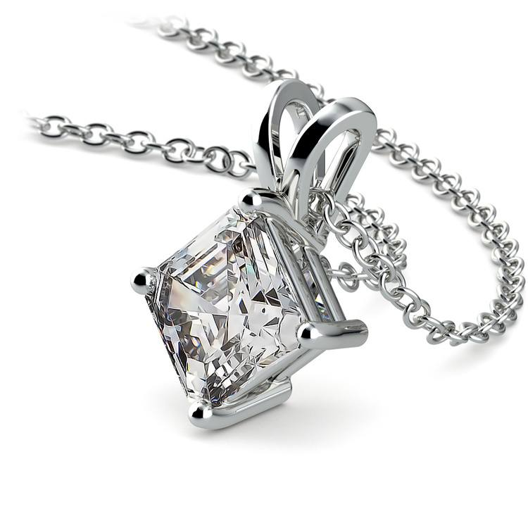 Asscher Diamond Solitaire Pendant in White Gold (1 1/2 ctw)  | 03