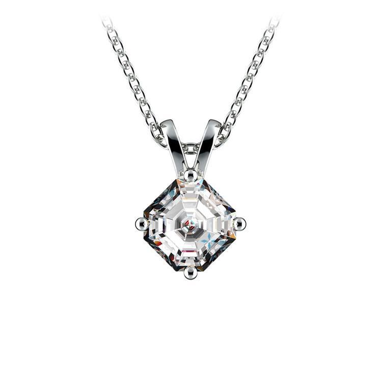 Asscher Diamond Solitaire Pendant in White Gold (1/2 ctw)  | 01